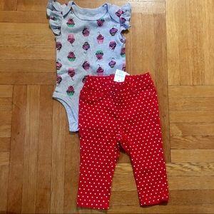 NEW Rosie Pope Cupcake Bodysuit & GAP Red Pants